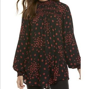 Free People Flowers In Her Hair Red Black Tunic